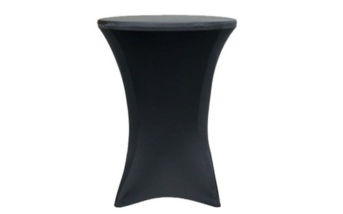 "Best selling 36"" Round x 42"" High Black Spandex Cocktail Table Cover"
