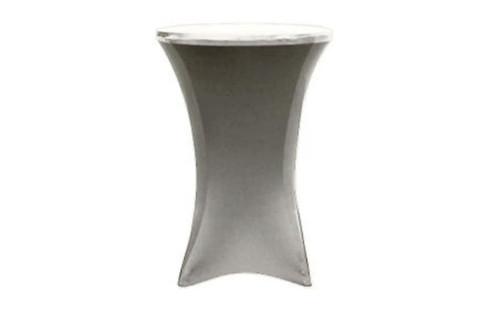 "Top selling 36"" Round x 42"" High Silver Spandex Cocktail Table Cover"