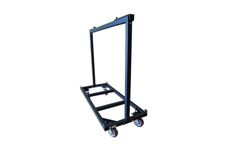 Left to Right Angled view of our best selling Quik Stage 6-Deck Portable Stage Vertical Storage Cart for 4 x 8 Stage Decks
