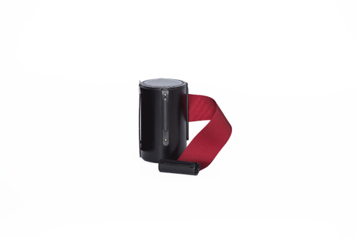 Top Selling Black Retractable Belt Wall Mount Stanchion or Safety Barrier with an 8' belt - Left Side View with Burgundy Belt.
