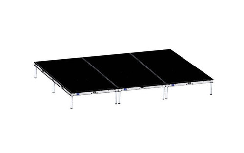 High Quality Quik Stage 8' x 12' High Portable Stage Package with Black Polyvinyl Non-Skid Surface. Additional Heights and Surfaces Available - Front view