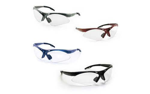 Top selling 4 Pack of SAS 5400 Diamondback Safety Glasses. Available in 4 Colors. Clear Lens. Stay OSHA Compliant. - Variety Pack