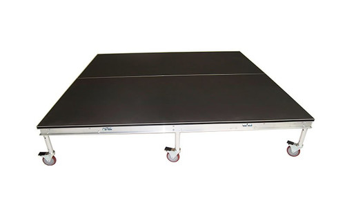 Top rated Quik Stage 7' x 7' High Rolling Drum Riser Package with Black Polyvinyl Surface - Angled view without drum set