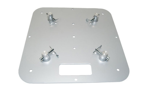 """Best selling 18"""" x 18"""" Silver Steel Truss Base Plate. Fits Global Truss F23 F24 F33 F34 F44 and Others. Front top view."""