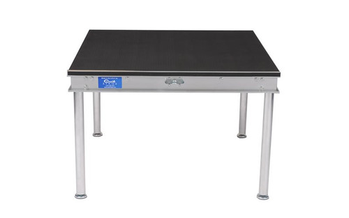 """Top selling Quik Stage 3' x 3' x 8"""" High Portable Stage Deck with Black Polyvinyl Non-Skid Surface. Additional Heights and Surfaces Available."""