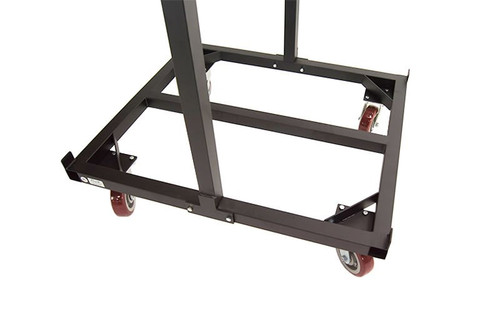 Closeup of our heavy-duty base on our top selling Quik Stage 10-Deck Portable Stage Vertical Storage Cart for 4 x 4 Stage Decks.