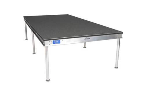"Best selling Quik Stage 4' x 7' x 8"" High Portable Stage Deck with Black Polyvinyl Non-Skid Surface. Additional Heights and Surfaces Available. Angled left view."