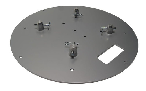 "Top Rated 24"" Round Silver Steel Truss Base Plate. Fits Global Truss F23 F24 F33 F34 F44 and Others. Angled right view."