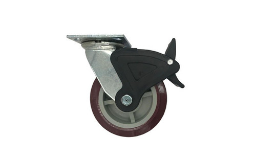 """Best seller Quik Stage 6"""" x 2"""" Swivel Caster with Polyurethane Wheel and Total Lock Brake- Profile View"""