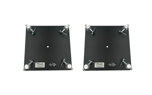 "Top selling Pair of 12"" x 12"" Black Powder Coated Aluminum F34 Truss Base or Top Plate. Top view of set."
