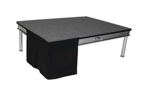 16 Inches High Flat No Pleat Black Polyester Top Rated Stage Skirting with Velcro. FR Rated. - Flat, no pleat, stage skirting.