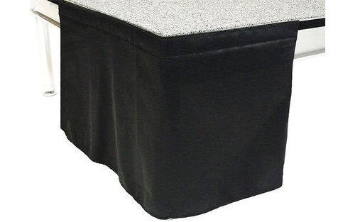 8 Inch High Flat No Pleat Black Polyester Top Rated Stage Skirting with Velcro. FR Rated. - Close up of Flat, no pleat, skirting on stage.