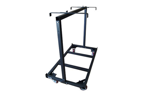 Left to Right Angled view of our best selling Quik Stage 8-Deck Portable Stage Vertical Storage Cart for 4 x 8 Stage Decks