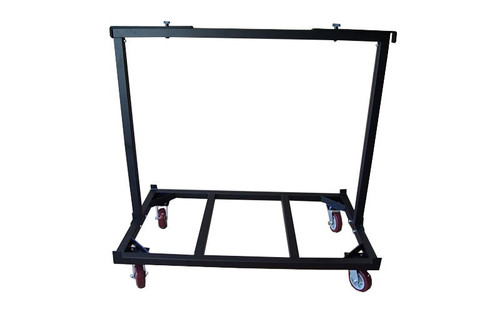 Broad side view of our best selling Quik Stage 8-Deck Portable Stage Vertical Storage Cart for 4 x 8 Stage Decks