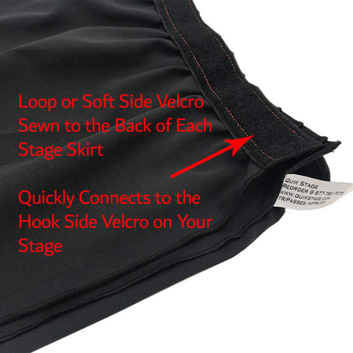 8 Inches High Best Value Black Expo Pleat Polyester Stage Skirting with Velcro. FR Rated. - Loop Velcro sewn on back.