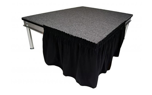 """Top rated 8"""" High Black Shirred Pleat Wyndham Flame Retardant Polyester Stage Skirting with the Loop Side Fastener - Attached easily via the Velcro on back of the skirting."""