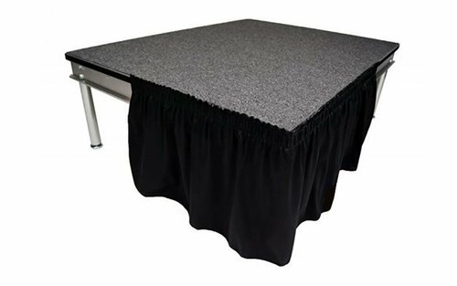 "Top rated 8"" High Black Shirred Pleat Wyndham Flame Retardant Polyester Stage Skirting with the Loop Side Fastener - Attached easily via the Velcro on back of the skirting."