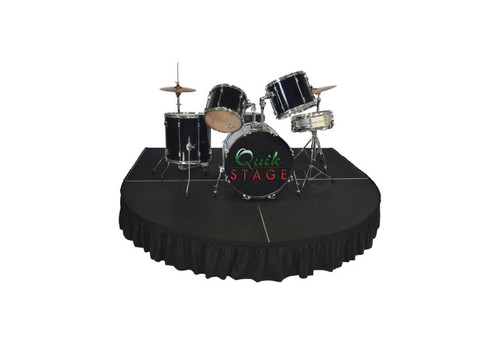 """Best reviewed Quik Stage 7' x 8' x 12"""" High Round Front Rolling Drum Riser Package  - Show drum riser with stage skirting."""