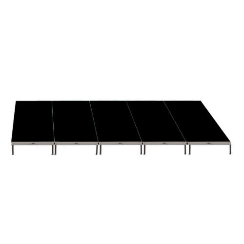 Top Rated Quik Stage 8' x 20' High Portable Stage Package with Black Polyvinyl Non-Skid Surface. Additional Heights and Surfaces Available - Front view