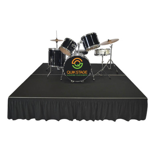 Top Rated Quik Stage 16' x 24' High Portable Stage Package with Black Polyvinyl Non-Skid Surface. Additional Heights and Surfaces Available - Drum Riser with Skirting and Drum Set