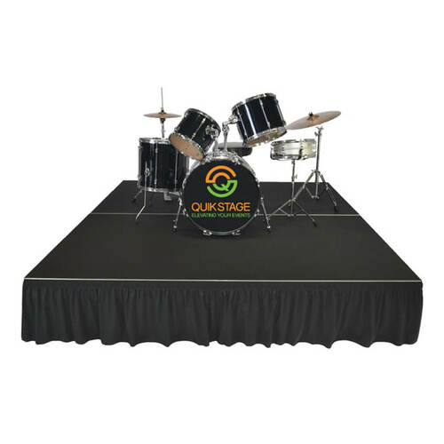 Top reviewed Quik Stage 4' x 8' High Portable Stage Package with Black Polyvinyl Non-Skid Surface. Additional Heights and Surfaces Available - Drum Riser with skirting