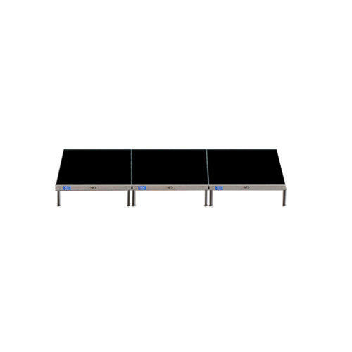 Top Rated Quik Stage 4' x 12' High Portable Stage Package with Black Polyvinyl Non-Skid Surface. Additional Heights and Surfaces Available - Front view