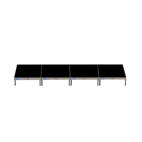 Top Rated Quik Stage 4' x 16' High Portable Stage Package with Black Polyvinyl Non-Skid Surface. Additional Heights and Surfaces Available. - Front view.