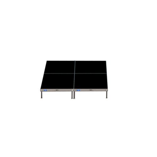 Top Rated Quik Stage 8' x 8' High Portable Stage Package with Black Polyvinyl Non-Skid Surface. Additional Heights and Surfaces Available. - Front view.