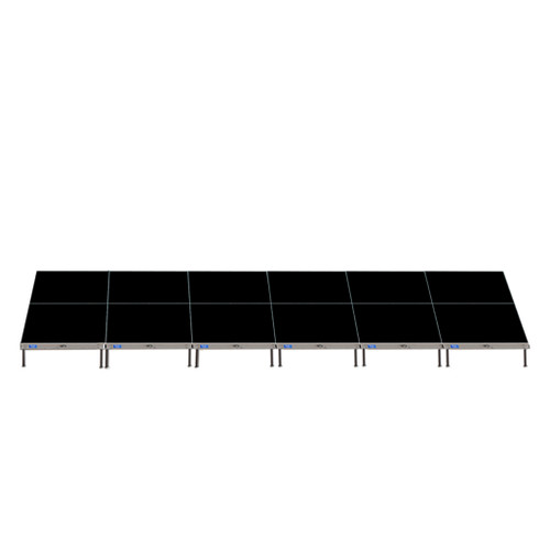 Top Rated Quik Stage 8' x 24' High Portable Stage Package with Black Polyvinyl Non-Skid Surface. Additional Heights and Surfaces Available - Front view