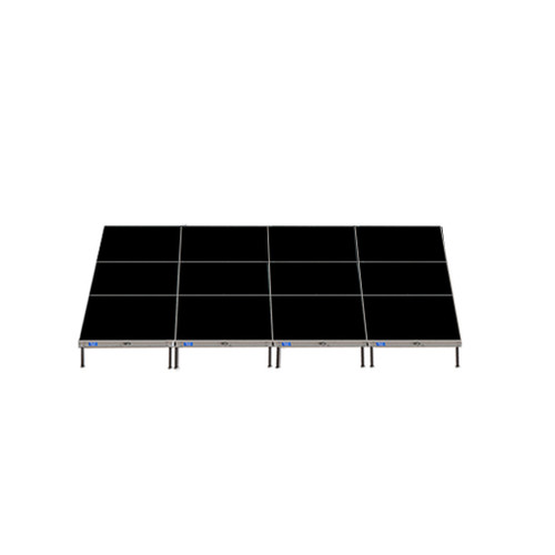 Top Rated Quik Stage 12' x 16' High Portable Stage Package with Black Polyvinyl Non-Skid Surface. Additional Heights and Surfaces Available - Front view