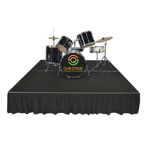 Top reviewed Quik Stage 12' x 32' High Portable Stage Package with Black Polyvinyl Non-Skid Surface. Additional Heights and Surfaces Available. - Drum Riser with skirting.