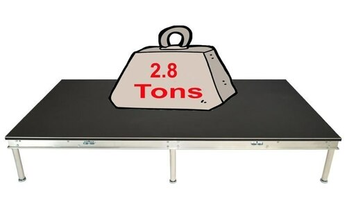 Quik Stage 4' x 16' High Portable Stage Package with Black Polyvinyl Non-Skid Surface. Additional Heights and Surfaces Available - Holds 2.8 tons per 4 x 8 when spread out evenly