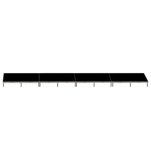 Top Rated Quik Stage 4' x 32' High Portable Stage Package with Black Polyvinyl Non-Skid Surface. Additional Heights and Surfaces Available - Front view