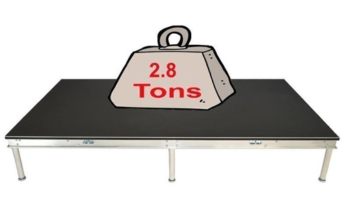 Quik Stage 4' x 36' High Portable Stage Package with Black Polyvinyl Non-Skid Surface. Additional Heights and Surfaces Available - Holds 2.8 tons per 4 x 8 when spread out evenly