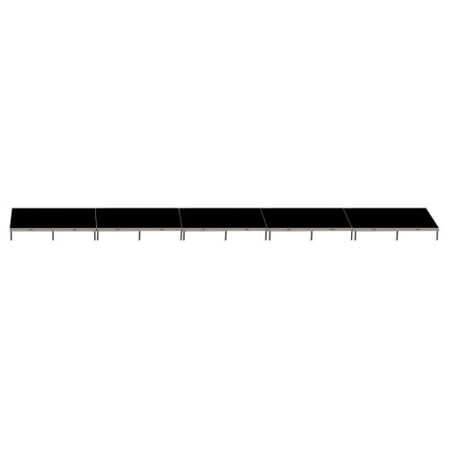 Top Rated Quik Stage 4' x 40' High Portable Stage Package with Black Polyvinyl Non-Skid Surface. Additional Heights and Surfaces Available - Front view