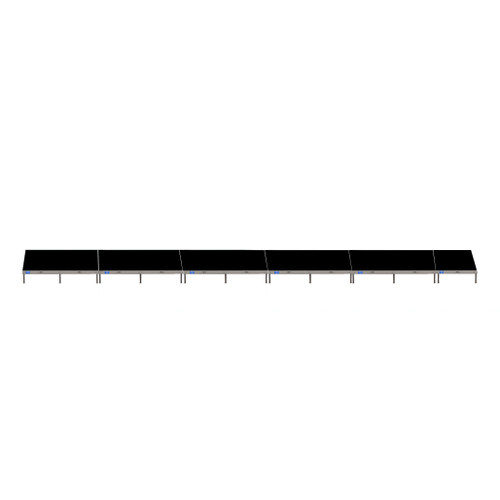 Top Rated Quik Stage 4' x 44' High Portable Stage Package with Black Polyvinyl Non-Skid Surface. Additional Heights and Surfaces Available - Front view