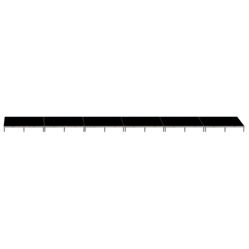 Top Rated Quik Stage 4' x 48' High Portable Stage Package with Black Polyvinyl Non-Skid Surface. Additional Heights and Surfaces Available - Front view