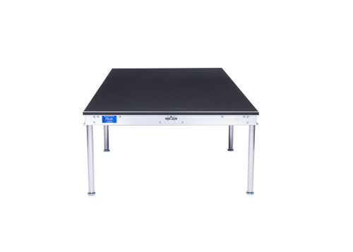 Top Rated Quik Stage 4' x 4' High Portable Stage Package with Black Polyvinyl Non-Skid Surface. Additional Heights and Surfaces Available - Front view
