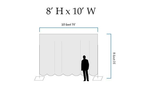 8' High x 10' Wide Pipe and Drape Stage Backdrop Using Two Piece Upright with Black Premier Polyester Drapes- Drawing