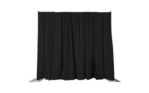 Top rated 8' High X 5' Wide Black IFR Poly Premier Rod Pocket Pipe and Drape Drapes