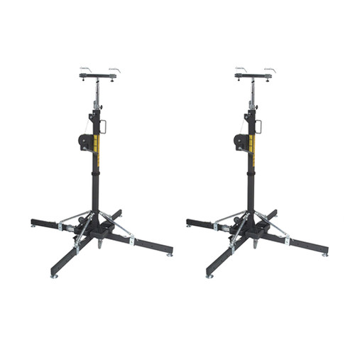 Best Value Two Global Truss ST-157 Medium Duty Crank Stands or Lifts with 4 Outriggers and Two STSB-005 Truss Adapters.