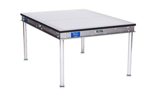 """Top selling Quik Stage 4' x 4' x 8"""" High Portable Stage Deck with Clear Plexiglas Surface. Additional Heights Available."""