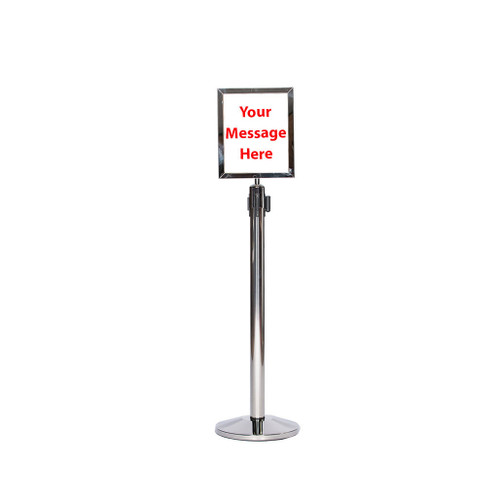 Top Selling 10 x 13 Retractable Belt Chrome or Polished Stainless Steel Sign Frame - Chrome or Polished Stainless Steel Sign frame on a chrome retractable belt post stanchion (full view).