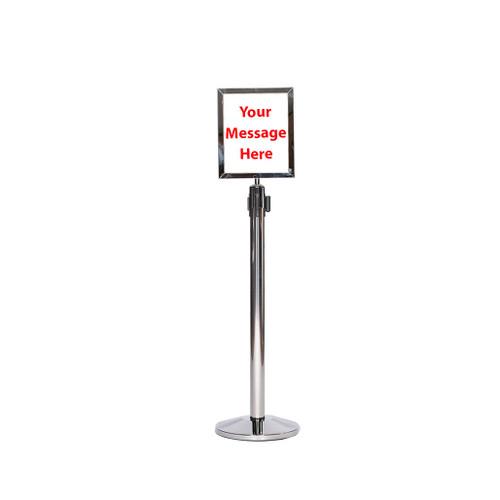 Top Seller 8 1/2 x 11 Retractable Belt Chrome or Stainless Steel Sign Frame with Plexiglas - Sign frame mounted on a chrome or stainless steel retractable belt stanchion