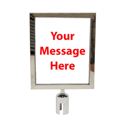 Best Seller 8 1/2 x 11 Retractable Belt Chrome or Stainless Steel Sign Frame with Plexiglas - Close up view