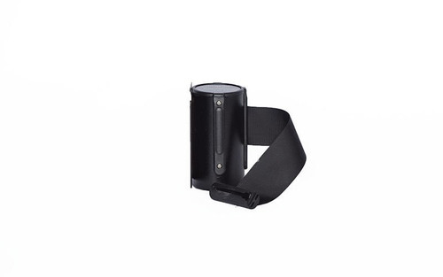 Top Selling Black Retractable Belt Wall Mount Stanchion or Safety Barrier with an 8' belt - Left Side View with Black Belt.