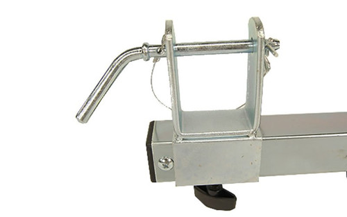 """Closeup view of truss adapter bracket with STSB-PIN inserted of our best selling Global Truss STSB-005 Truss Adapter.  Fits any Crank Stand with a 35mm or 1.38"""" Shaft"""