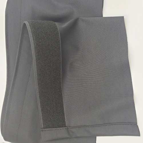 "Top rated Closeout!  8"" High x 24' Long Black Flat (No Pleat) Poly Premier Stage Skirting with Loop Velcro sewn on the back - Back Side"