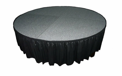 """Top rated 12"""" High Black Expo Pleat Poly Premier Flame Retardant Polyester Stage Skirting with the Loop Side Fastener.  - Attached to a round stage."""