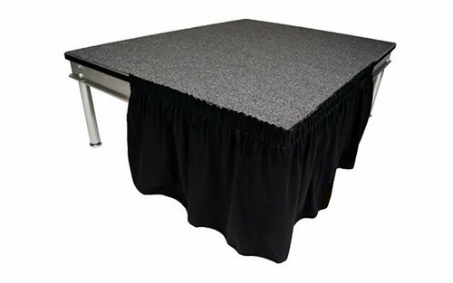 """Top rated 16"""" High Black Expo Pleat Poly Premier Flame Retardant Polyester Stage Skirting with the Loop Side Fastener.  - Attached easily via the Velcro on back of the skirting."""